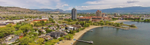 View of Kelowna city and beach from a plane.