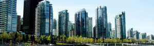 Futuristic looking skyscrapers in Vancouver city.
